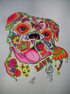 sugar skull / day of the dead english bull terrier by pookielou on . Bulldogge Tattoo, Sugar Skull Art, Sugar Skulls, Mini English Bulldogs, Bull Skulls, Chicano Art, English Bull Terriers, Learn To Paint, Dog Art