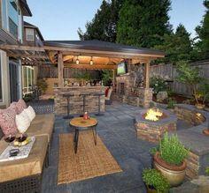 The Happiness of Having Yard Patios – Outdoor Patio Decor Backyard Patio Designs, Pergola Patio, Backyard Landscaping, Pergola Kits, Pergola Ideas, Porch Ideas, Landscaping Ideas, Cheap Pergola, Back Yard Patio Ideas
