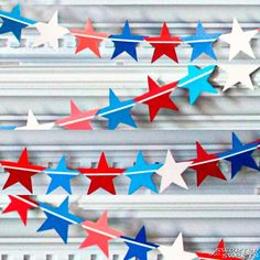 Paint Chip Star-Spangled Banner - Memorial Day Craft/ of July 4th Of July Party, Fourth Of July, Patriotic Party, Patriotic Crafts, July Crafts, Holiday Crafts, Holiday Fun, Holiday Ideas, Holiday Decor