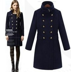 Free shipping 2013 autumn winter new fashion british style women's long wool coat double breasted wool jacket outerwear SML042-in Wool & Ble...