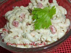 Les plats cuisinés de Esther B: Salade de macaroni, style PFK Macaroni Salad, Pasta Salad, Spaghetti, Cold Meals, Potato Salad, Esther, Cabbage, Salads, Potatoes