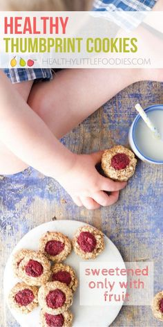 Healthy Thumbprint cookies perfect for baby led weaning or for kids. Made with 5 healthy ingredients they are healthy enough to serve for breakfast! Sweetened only with fruit. Lunchbox friendly.  #babyledweaning #blw #kidfood #kidsfood #kidsnack via @hlittlefoodies Toddler Snacks, Healthy Snacks For Kids, Kid Snacks, Healthy Desserts, Veggie Snacks, Healthy Recipes, Healthy Food, Baby Led Weaning, Baby Food Recipes