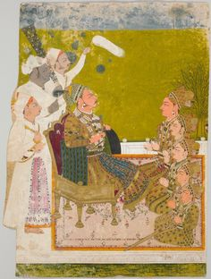 Maharaja Ajit Singh of Marwar (r. 1679-1724) and Courtiers. Opaque watercolor and gold on paper, Rajasthan, Marwar, 1722