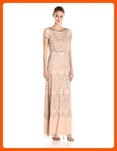 Adrianna Papell Women's Short Sleeve Blouson Beaded Gown, Taupe/Pink, 2 - All about women (*Amazon Partner-Link)
