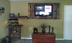 Tv wall unit and aquarium stand made from pallets