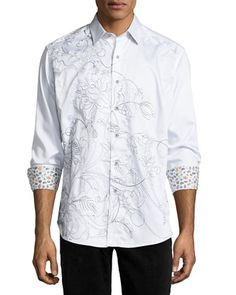 Coconut Island Embroidered Sport Shirt, White by Robert Graham at Neiman Marcus.