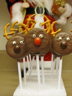 Chocolate Covered Oreo Reindeer Pops