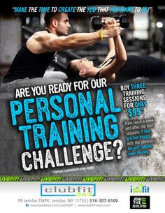 PERSONAL TRAINING CHALLENGE??  Are you ready to sweat? Are you ready to push yourself? Are you ready to see results? Make your body fit, strong and healthy by signing up at www.clubfitnation.com.  iLiveFit LIVEFIT! JOINTHEFITREVOLUTION!