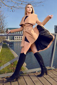 Jacheta dama asimetrica FOR KEEPS cu cordon in talie - iubesc Moda Wrap Dress, Beige, Dresses, Fashion, Vestidos, Moda, Fashion Styles, Dress, Fashion Illustrations