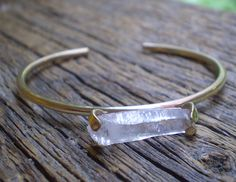 bronze quartz crystal cuff bracelet by MagpieHouse on Etsy, $29.00