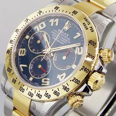 ROLEX DAYTONA 116523 STEEL GOLD TWO TONE BLUE ARABIC DIAL RACING DIAL #Rolex
