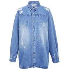 Edit - Workwear Denim Shirt Jacket (695 RON) ❤ liked on Polyvore featuring outerwear, jackets, dresses, jeans, tops, oversized jacket, oversized denim jacket, denim jacket, workwear jackets and snap jacket