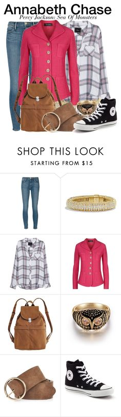 """""""Annabeth Chase - Percy Jackson: Sea Of Monsters"""" by nerd-ville ❤ liked on Polyvore featuring Frame, David Yurman, Rails, St. John, BAGGU, River Island, Converse and percyjackson"""