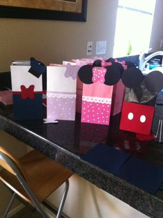 Donald and Daisy Duck with Minnie and Mickey Mouse candy bags I made for my friends baby first birthday!