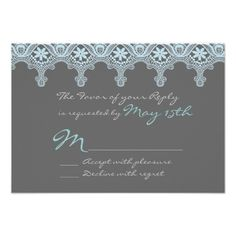 Elegant Gray and Blue Lace Wedding RSVP Cards