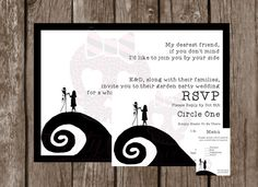 The Nightmare Before Christmas Wedding Invitation, RSVP and Menu Pack - Pack of 10 - Wedding RSVPs - Jack and Sally - Simply Meant To Be
