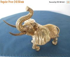 ON SALE Vintage Brass Ornate Etching Elephant by BitofHope on Etsy