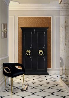 PARISIAN armoire is an luxury and modern armoire, composed with large black doors adorned with gold. This extravagant armoire contains sinful serpent handles. Interior Design Tips, Contemporary Interior Design, Interior Design Inspiration, Luxury Furniture, Luxurious Bedrooms, Best Interior Design, Modern Interior Design, Interior Design Magazine, Luxury Interior