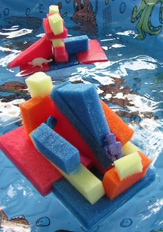Colourful sponge shapes for ECE water tables. It adds to the standard 'shovel and pale' items always found in most centres. Adding colourful sponges of different shapes and sizes adds to the activity. Also, using kitchen utensils, and anything you can find and incorporating it into your water table will keep the children busy creating new ideas.