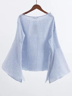 Blusa manga acampanada con cuello barco y cremallera - azul-Spanish SheIn(Sheinside) Sitio Móvil