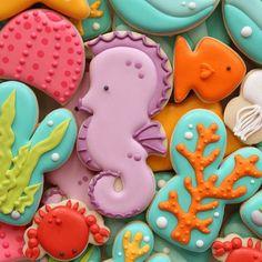 (1) SugarBelle's  - sea horse sea life cookies