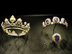 The current all diamond version of the Londonderry tiara, plus the magnificent amethyst tiara, which the Family have kindly lent to the V&A Museum, South Kensington.
