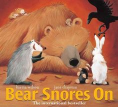 """Bear Snores On"" by Karma Wilson & Jane Chapman (I have a free pre-K pack pinned to go with this book!)"