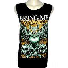 Bring Me the Horizon Owl T Shirt Tank Top Singlet Vest Size M - Design... (200 ZAR) ❤ liked on Polyvore featuring tops, shirts, bands, metal tank, vest top, rock tank tops, owl tank top and rock vest