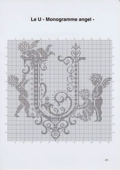 Gallery.ru / Фото #24 - Monogrammes Angels - Afortyna Monogram Cross Stitch, Cross Stitch Alphabet, Cross Stitch Samplers, Counted Cross Stitch Patterns, Cross Stitch Charts, Cross Stitch Designs, Cross Stitching, Cross Stitch Embroidery, Cross Stitch Angels