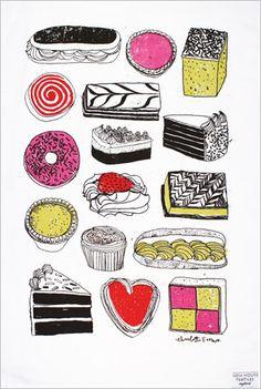 Dishtowel illustrations by Charlotte Farmer