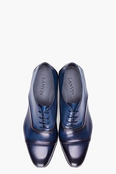 LANVIN Navy Torsade Dress Shoes