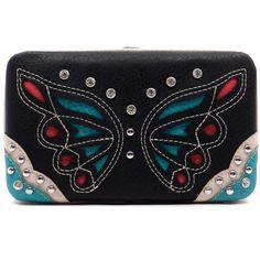 Black Butterfly Rhinestone Wallet
