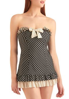 Betsey Johnson Comic Strip Sweetheart One Piece in Black.  I'm usually never into one-piece bathing suits, but this is so super cute.