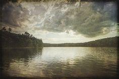 Walden Pond, Concord MA, Landscape art, serene landscape, lake art, lake artwork, clouds, sky, reflection, lake painting, landscape painting