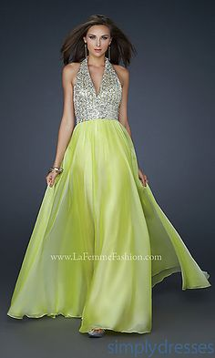 V-neck Halter Top Prom Dress at SimplyDresses.com