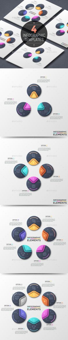 Modern Infographic Circular Template (4 Items) - PSD, Vector EPS, AI Illustrator