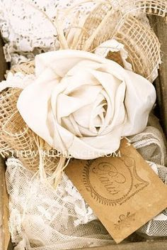 ribbon rose tutorial, lovely shabby chic / vintage / cottage accent, beautiful with the lace, would set well with burlap