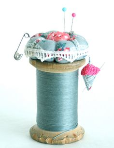 Old Spool Pincushion by PozeyPincushionsPlus on Etsy,