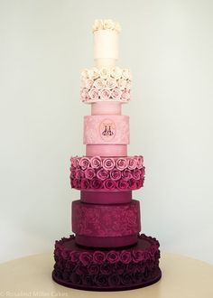 Elegant pink ombre rose wedding cake; Featured Cake: Rosalind Miller Cakes