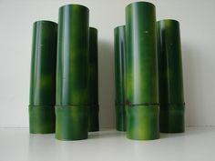 6 Deko-Vasen Bambus 30cm grün-gelb Bambusrohr Vasen Tischdekoration Dekoration