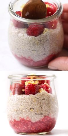 You are going to love this Lemon Raspberry Chia Pudding! This healthy breakfast recipe is ready in just minutes and is perfect for on the go or to take to the work office with you! Vegan, gluten-free and low on the glycemic index. Healthy Sweets, Healthy Breakfast Recipes, Snack Recipes, Chia Breakfast, Healthy Lunches, Healthy Breakfasts, Breakfast Smoothies, Breakfast Casserole, Brunch Recipes