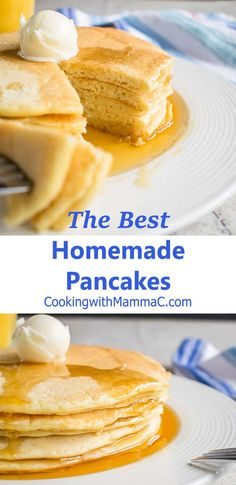 The Best Homemade Pancakes - With delicious almond flavor! A family favorite for decades! #bestpancakes #pancakes #breakfast