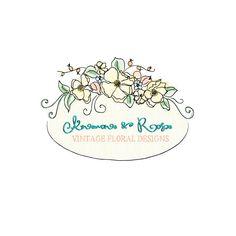 Anemone and Rose OOAK Hand Drawn Logo. $60.00, via Etsy.