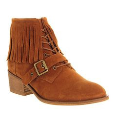 Office Domino Fringe Lace Up Brown Suede - Ankle Boots