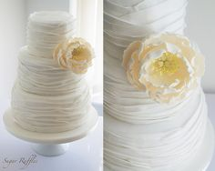 Peony Ruffle Wedding Cake-pinning for the ruffles, not the peony