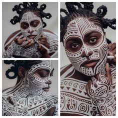 Danielle Brooks painted in the traditional sacred Yoruba art of Ori by Laolu Senbanjo | NY Times, Nov 2016