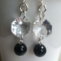 Earrings These beautiful dangle earrings are one of a kind. They are made with vintage chandelier glass and black onyx stones. One of a kind and a must have! Jewelry Earrings