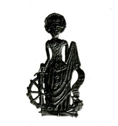Pilgrim-badge; lead alloy; figure of St Catherine, crowned and nimbed, with wheel. 14th century, France.