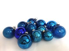 "retro blue glass ornaments; 12 classic glass balls mismatch blue ornaments; 2"" and 1 3/4"" balls; yesteryears blue Christmas holiday decor by LisaLiYesterYears on Etsy"