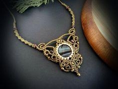 Macrame necklace with Hawks Eye  Fairy by EarthBoundMacrame